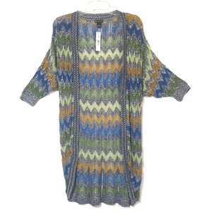 NEW Cocoon Sweater Zigzag Stripes Open Weave